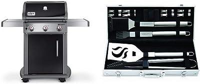 Weber 46510001 Spirit E310 Liquid Propane Gas Grill, Black with Cuisinart Grilling Set