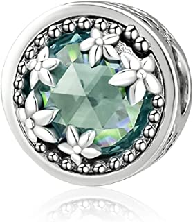 CKK Radiant Flower Brilliance Beads 925 Sterling Silver Fits Pandora Hearts Charms Bracelets Necklace Jewelry.Green Crystal
