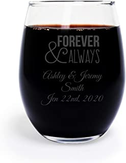 72 Pack Personalized Engraved Forever and Always 9 oz stemless Wine Glass, Wedding Favor,Party Favor, Anniversary Favor, Personalized Wine Glass, Bridal Shower Favors