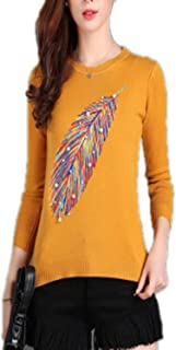 Women Embroidered Beading Pullovers Sweater Feather Snowflakes Soft O-Neck Slim Knit Pullover Tops Shirt