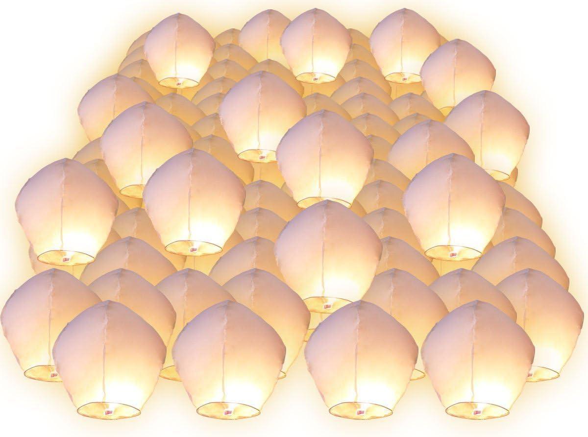 100 Piezas de linternas voladoras chinas, faroles tailandés farolillos del cielo romántica para aniversario, boda, San Valentín, partido nacional Screl®