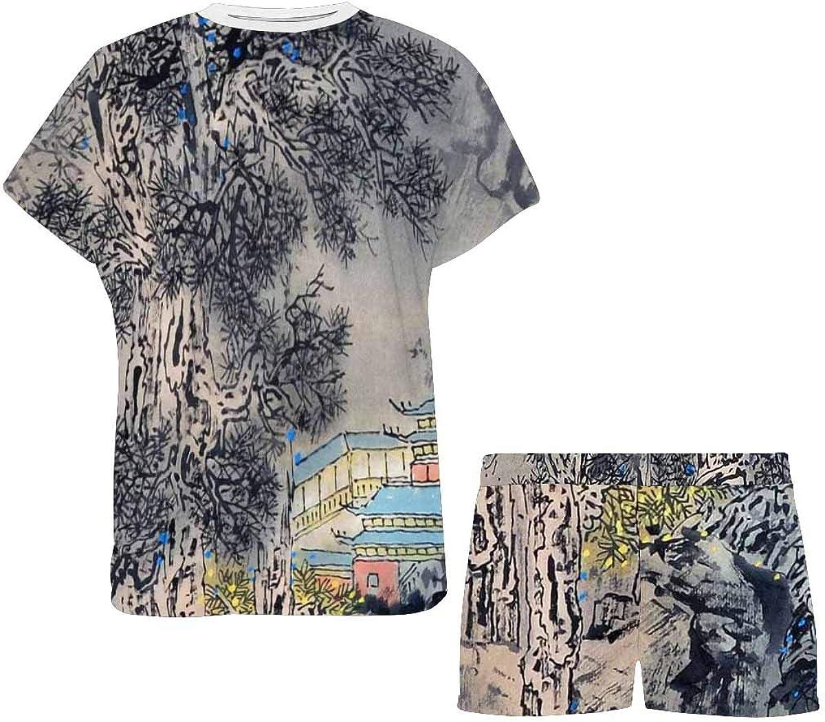 InterestPrint Chinese Landscape Painting Women's Lightweight Pajama Set, Short Summer Pjs