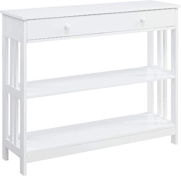 Convenience Concepts 203395W Mission 1 Drawer Console Table White