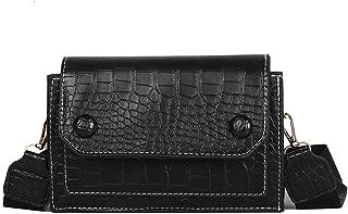 Waymine Women's Vintage Messenger Bag Crocodile Pattern Solid Square Shoulder Bag Handbag Phone Coin bag Packet