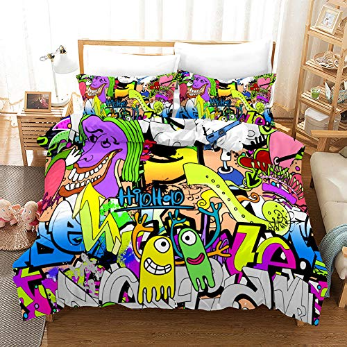 Duvet Cover Set Single(55x78.7 inch) Color cartoon comic doodle Bedding Printed Ultra Soft Hypoallergenic Microfiber with Zipper Closure + 2 Pillowcases 20x29.5 inch