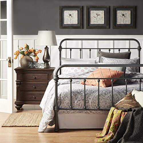 Giselle Dark Gray Graceful Lines Victorian Iron Metal Bed - FULL Size