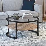 Henn&Hart Farmhouse Round Limed Oak Shelf, Glass, Metal Frame in Blackened Bronze for Living Room Coffee Table, 17' H x 34' L x 34' W, Black