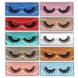False Eyelashes Wispy 18mm Natural 3D Faux Mink Lashes Pack 10 Pairs 10 Styles Mixed Soft Reusable Fake Eyelashes Bulk with Glitter Portable Boxes