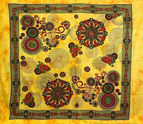 Telo Arredo Copritutto Grande Daisy 210x240 cm 100% Cotone Copri divano Gran foulard con Frange Batik (Giallo)