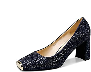 New Four Seasons Dress Shoes Female Blue Square Head Single Shoes Female Rhinestones High Heels Thick with Rhinestone Series High Heels (Color : Blue, Size : 38)