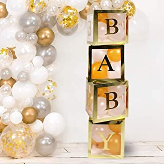 Baby Shower Decorations for girl and boy and first Birthday Party Kit with 4 Transparent Boxes with 20 Balloons 2 Babe Party Hats gender neutral and reveal favor 3 Letter Foil Balloons