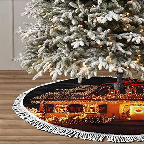 Christmas Tree Skirt, 48 inches Christmas Decoration Fringed Lace (Christmas Theme) for Xmas Holiday Party Decorations