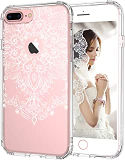iPhone 7 Plus Case, iPhone 7 Plus Clear Case, MOSNOVO White Henna Floral Clear Design Plastic with TPU Bumper Protective Case Cover for iPhone 7 Plus (2016)