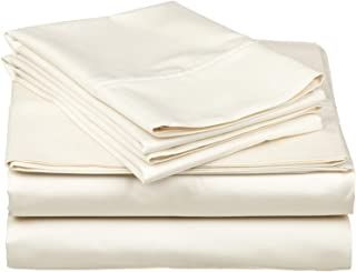Grandeur Linens 800 Thread Count Four (4) Piece Olympic Queen Size Ivory Solid Bed Sheet Set, 100% Egyptian Cotton, Deep Pocket