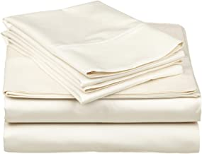 Grandeur Linens Sunrizer Bedding 800 Thread Count Four (4) Piece Twin Size Black Solid Bed Sheet Set, 100% Egyptian Cotton, 18 Inch Deep Pocket Olympic Queen Off-white 1