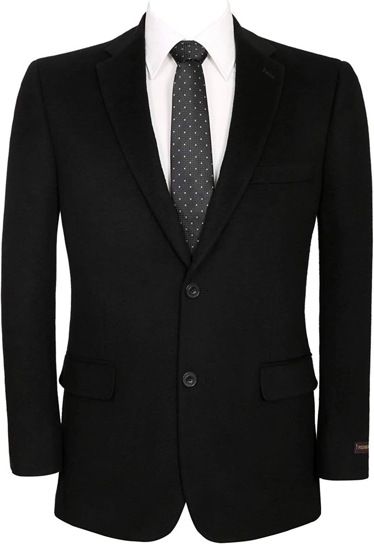 QSYJ Men's Premium Wool Blend Business Blazer Suit Jacket