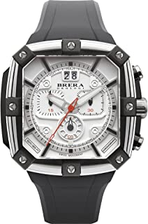 Brera Orologi Men's Supersportivo Square Stainless Steel Black & Red 46mm BRSS2C4604