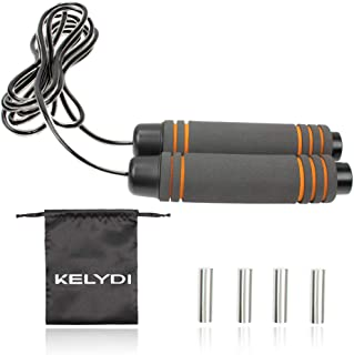 KELYDI Weighted Jump Rope with Sturdy Wire and Soft Foam Handle, Adjustable Length Skipping Rope for Fat Reducing Training Exercising
