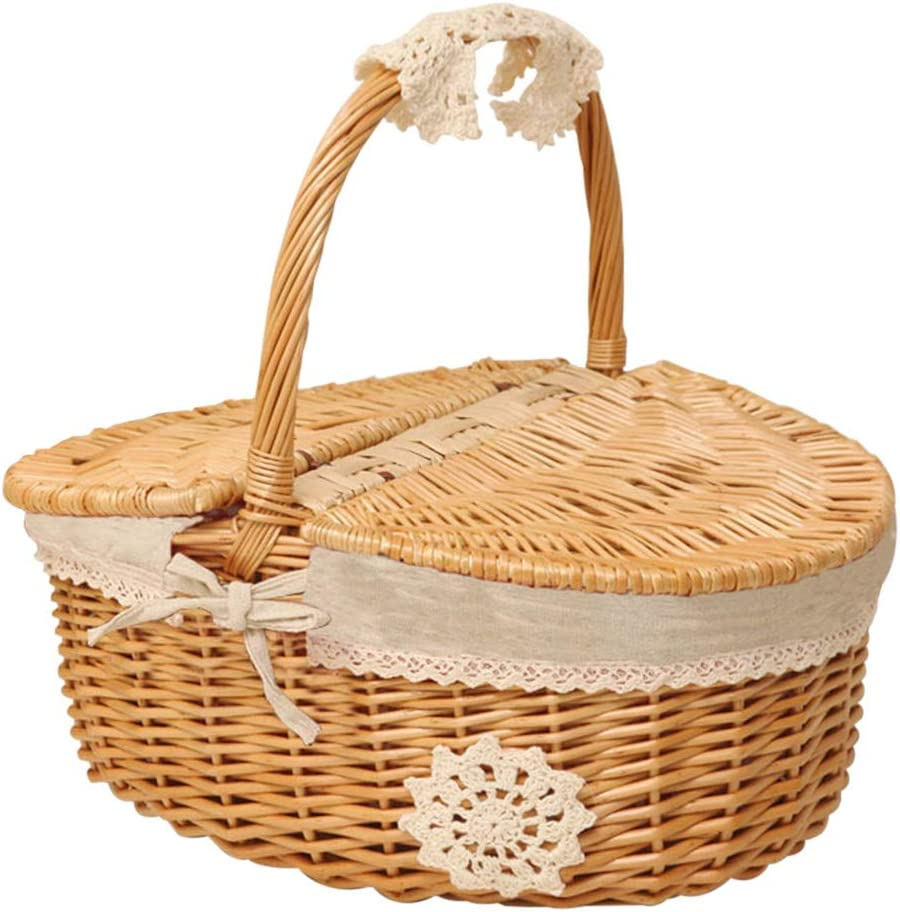 Wicker Great interest Picnic Max 83% OFF Hamper Hand Woven - Burlyw Lid with Basket