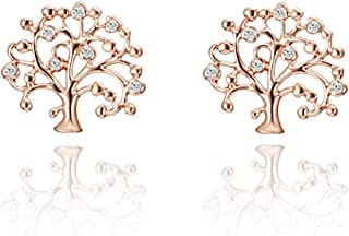 Tree of Life Stud Earring for Women,Rose Gold and Silver Earring Studs Hypoallergenic Studs Tiny Stud with CZ Crystal