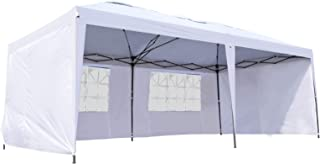 Outsunny Easy Pop Up Canopy Party Tent, 10 x 20-Feet, White with 4 Removable Sidewalls