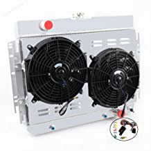 STAYCOO 3 Row Aluminum Radiator +12 Inches Fan w/Shroud for Bel Air, Impala Chevelle, Multiple Chevrolet Models 1963-1968