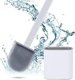 Mitening Brosse WC en silicone et récipient - Avec longue poignée - Base anti-gouttes - Avec support à séchage rapide - Po...