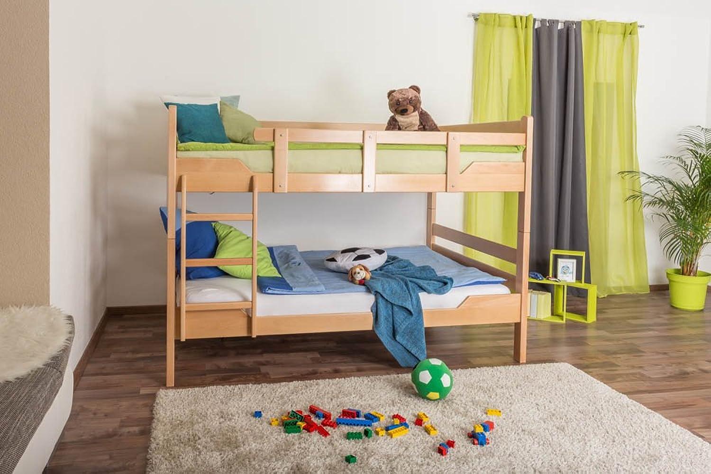 Etagenbett Stockbett Easy Premium Line  K16 n, Kopf- und Futeil gerade, Buche Vollholz massiv Natur - Liegeflche  160 x 190 cm, teilbar