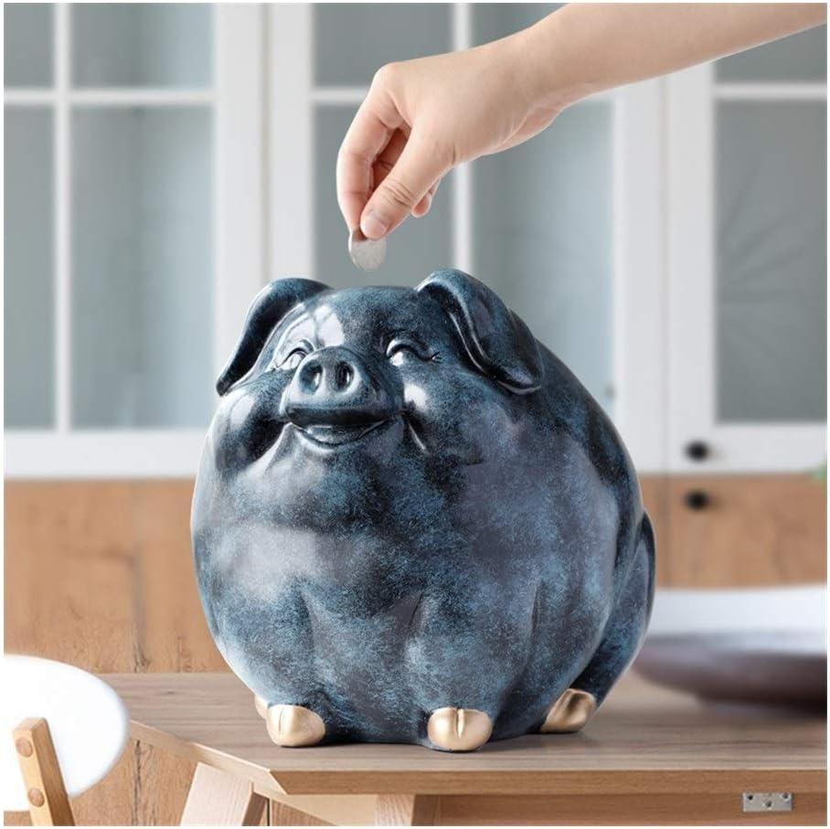 OYPY Spaarpot van het varken for kinderen gift hars standbeeld dier geval munt bank doos creatief plezier varken spaarpotten for kinderen cute spaarpotten (Color : Blue) Blue