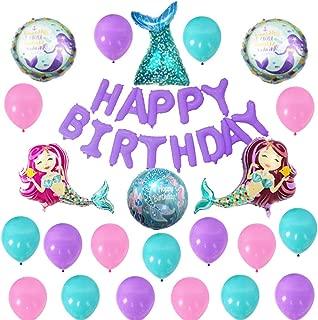 Finypa Mermaid Balloons Birthday Party Supplies Mermaid Mylar Balloons for Girls Birthday Baby Shower Marine animals balloon