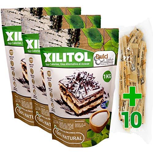 Xilitol 100% Natural Ecologico 3Kg Azucar de Abedul de Finlandia + 10 sobres Regalo de Nuevo Edulcorante Moreno DULCILIGHT el sabor natural del azucar.