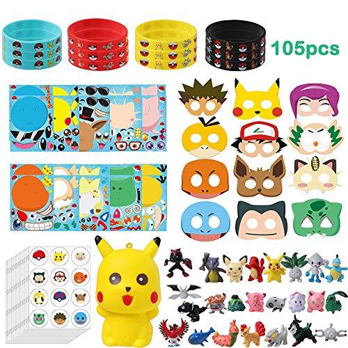 BeYumi 105Pcs Pikachu Partei Gefälligkeiten-Make ein Pikachu Aufkleber, Masken, Gummi Armband Armband, Aufkleber, Mini Action Figuren, Squishy Spielzeug
