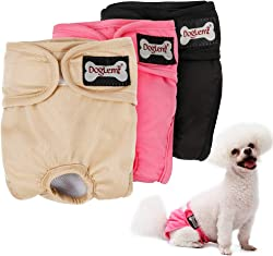 LOVABLEU 3 Pack Washable Female Dog Diapers Wraps, 5 Size Pet Sanitary Pants Cloth Nappy Covers Underwear Reusable Waterproof