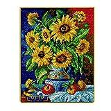TrusMe Knüpfteppich Kits Sonnenblumen Vase Häkeln Teppich Teppich Garn Kissen Mat DIY Teppich Teppich Wohnkultur Kunst & Handwerk, 30.7X24.8 Inch
