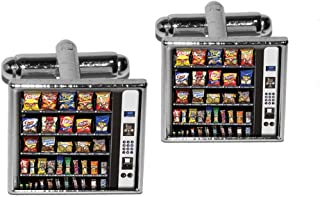 Graphics and More Snacks Chips Candy Vending Machine Square Cufflink Set - Silver