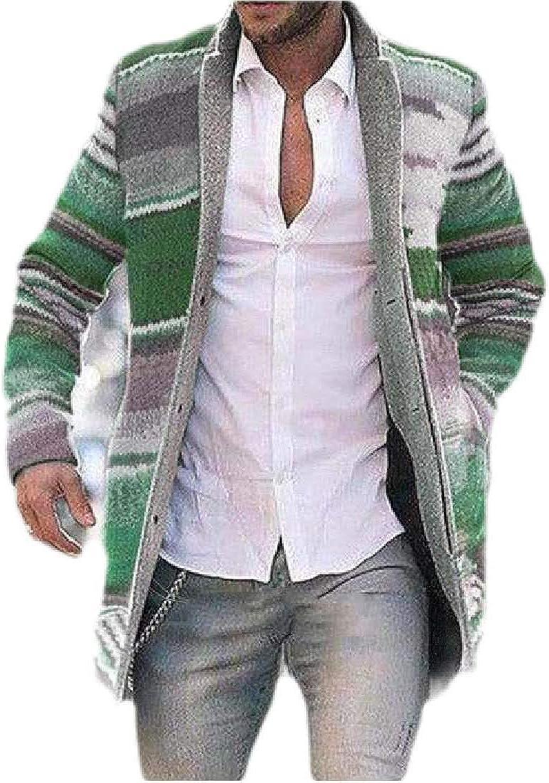 Mens Winter Printed Long Jacket Wool-Blend Stand Collar Pea Coat Outwear