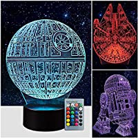 3パターン 16色 3D スターウォーズ ナイトライト スターウォーズ 3Dランプ スターウォーズファンへの誕生日ギフト