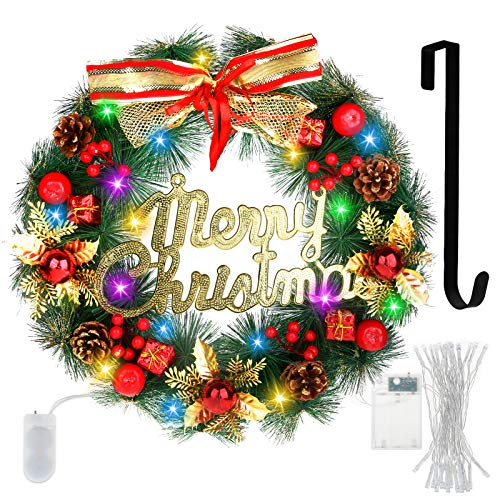 Christmas Wreath Artificial Merry Christmas Hanging Wreath Red Berry Wreath with Wreath Hanger Battery Operated Led Strip Light Christmas Decorations Wreath for Front Door Window Wall Indoor Outdoor