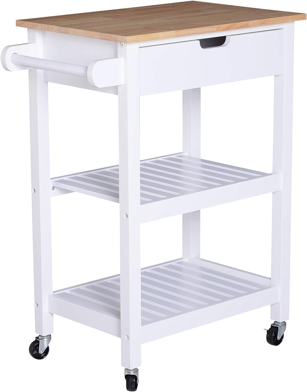 HOMCOM Küchenwagen rollbar Küchentrolley mit mit mit ...