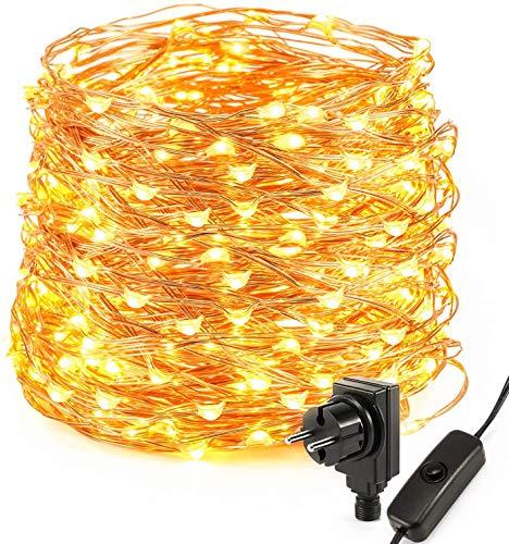 Kohree Guirnalda Luces con Enchufe 20m 200LED Alambre de Cobre Impermeable Luces de Hadas IP65 Blanco Cálido Luces de Cadena Decoración de Fiestas Balcón Casa Jardín[Clase de eficiencia energética A]