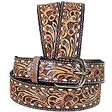 3D Belt Mens 3D 1 1/2in Natural Floral Buckstitch Belt 32 Brown