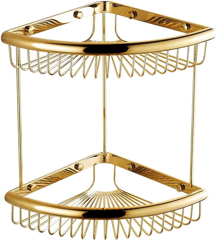 Rishx European golden Bathroom Shelf Basket 2 Layer Frame Corner Antique Double Triangle Basket Solid Brass Bathroom Storage Organizer Set