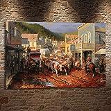 sanzangtang Rahmenlose MalereiWestern Cowboy-Stil Geschenk Landschaftsmalerei Malerei Wohnzimmer Schlafzimmer Hauptdekoration50X75cm