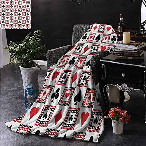 ZSUO bank deken hand getrokken stijl monochroom patroon met Roulette kaarten sigaar Whisky Chip geld warm & hypoallergeen wasbare bank/bed gooien