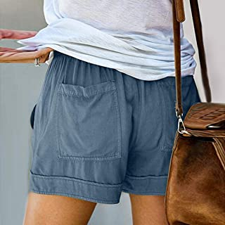Summer Ladies Shorts Loose Casual Womans Embroidered Drawstring Elastic Waist Pockets