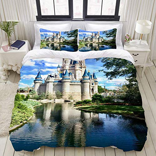 Yaoni Duvet Cover,Castle Amusement Park USA Florida Gothic Castle Garden Meadow Lake Sunny Sky Orlando Paradise,Bedding Set Ultra Comfy Lightweight Microfiber Sets