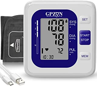 GPZON Blood Pressure Monitor Upper Arm Cuff kit Clinically Accurate & Fast Reading Home Digital BP Machine Heart Rate Pulse Monitoring Device (Blue)
