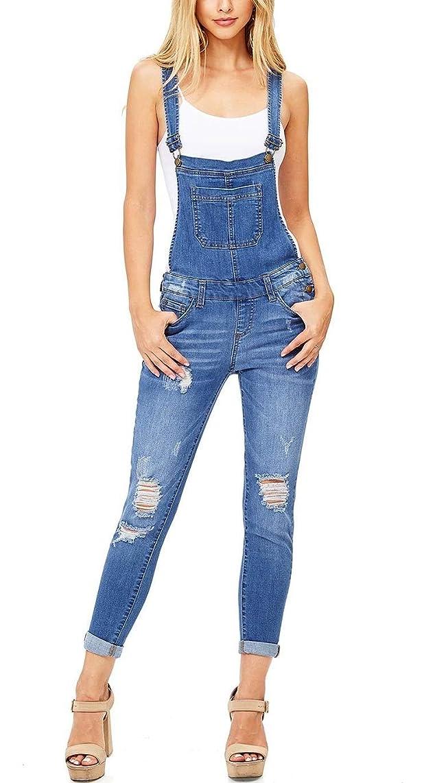 Taoliyuan Womens Ripped Denim Overalls Skinny Long Jeans Distressed Rompers Bib Casual Slim fit Jumpsuit