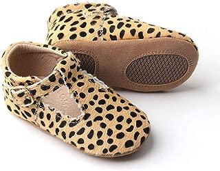 Sommerfugl Kids Leather Mary Jane T Bar Baby Soft Sole Shoe — Cheetah Calf Hair