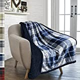 PAVILIA Premium Plaid Sherpa Fleece Throw Blanket   Super Soft, Cozy, Plush, Lightweight Microfiber, Reversible Throw for Couch, Sofa, Bed, All Season (50 X 60 Inches Navy Blue)